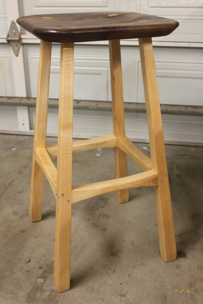 "29.5"" tall Bar Stool. Maple and Walnut with Aluminum pegs $600"