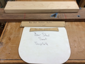 Here are the templates and the rough stock.  Materials are Walnut and Maple.