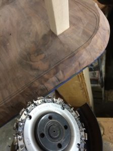 Carving the under side bevel with a Squire cutting wheel