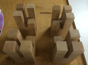 The rough foot blanks arranged.