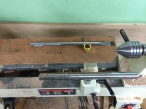 Cherry blank, ferrule, and screwdriver shaft.