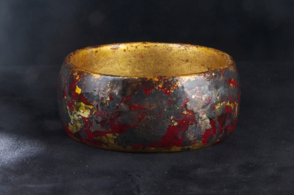Copper and silver leaf with patina finish bangle. $90