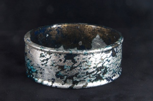 Silver leaf and dutch metal bangle. Dutch metal has been patinized.  Silver patinized slightly.