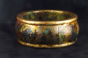 Gilded with gold, copper, and dutch metal. Patinized with vinegar and ammonia.