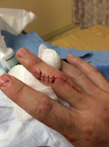 Cut after suturing.