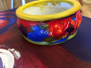 3rd bangle painted and ready to gild.