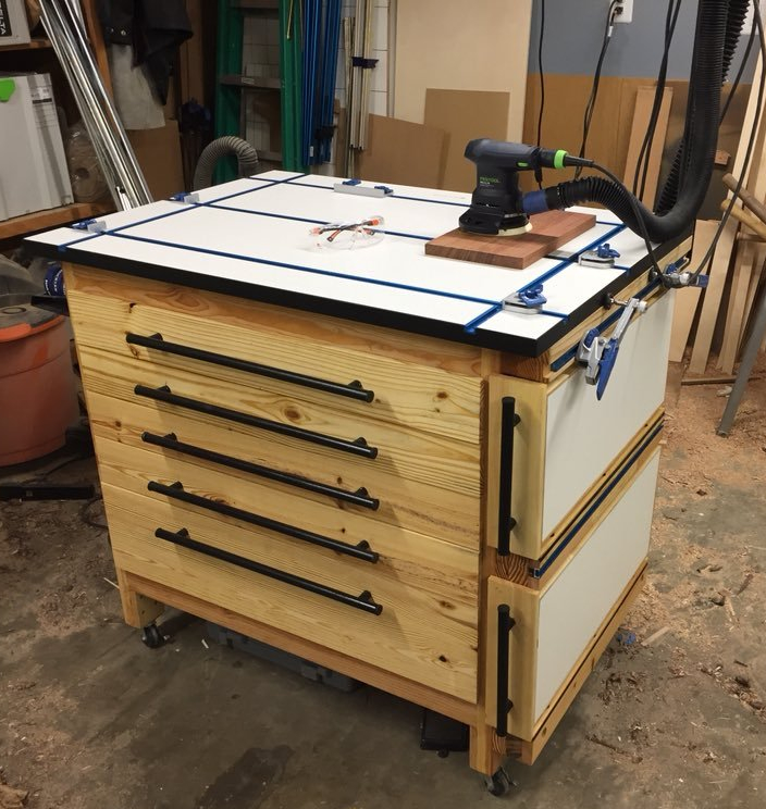 Reclaimed Wood Mobile Work Station